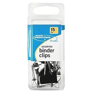 Swingline Work Essentials Binder Clip Assortment, Black, 15 Count (S7071753)