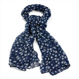 Fashion Scarf - Blue & White Star Scarf - Stars Print ...