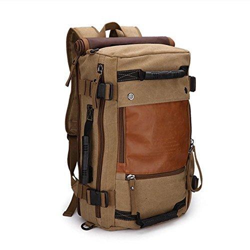 Ibagbar-Canvas-Backpack-Travel-Bag-Hiking-Bag-Camping-Bag-Rucksack-Khaki