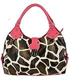 FASH Giraffe Print Satchel Style Top Handle Handbag