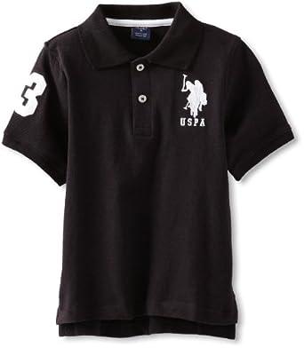 U.S. Polo Assn. Little Boys' Short Sleeve Solid Pique, Black/White, 4