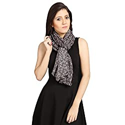 FabSeasons Black Cotton Floral Printed Scarf, Scarves, Stole and Shawl for Women