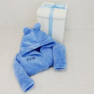 Personalised Baby Bath Robe Blue