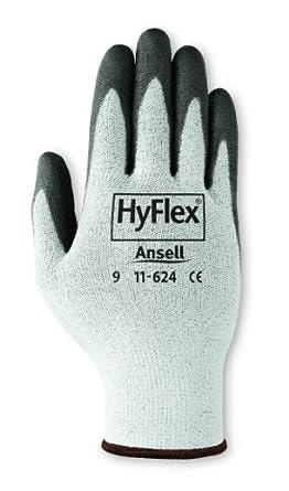 Ansell HyFlex 11-624 Dyneema/Lycra Glove, Cut Resistant, Black Polyurethane Coating, Knit Wrist Cuff,  XX-Large, Size 11 (Pack of 12 Pairs)