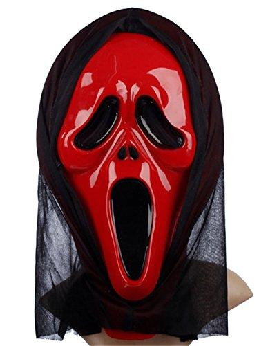 [Genluna Halloween Women's Scream Mask with Shroud Onesize Red] (Banshee Costumes)