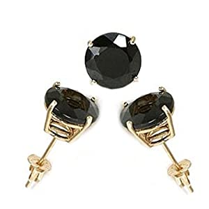 14K Yellow Gold Stud Earring Aprx 4 Carat Total Weight, 8mm Each Round Black Simulated Diamond Earring. Set on High Quality Prong Setting & Friction Style Post