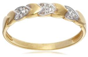 9ct Yellow Gold AMR312459 Ladies 0.015ct Diamond Band Ring Size M