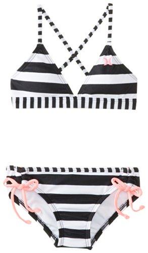 Hurley Little Girls' Surfside Tri Bikini, Black, 6 front-984302