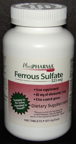PlusPharma Ferrous Sulfate 325 mg Tablets, 1000 Count (Iron Tablets 325 Mg compare prices)
