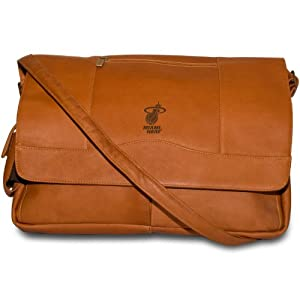 NBA Miami Heat Tan Leather Laptop Messenger Bag by Pangea Brands