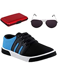Delux Look Men's Blue Synthetic Leather Casual Shoes With Sunglasses And Aluma Wallets