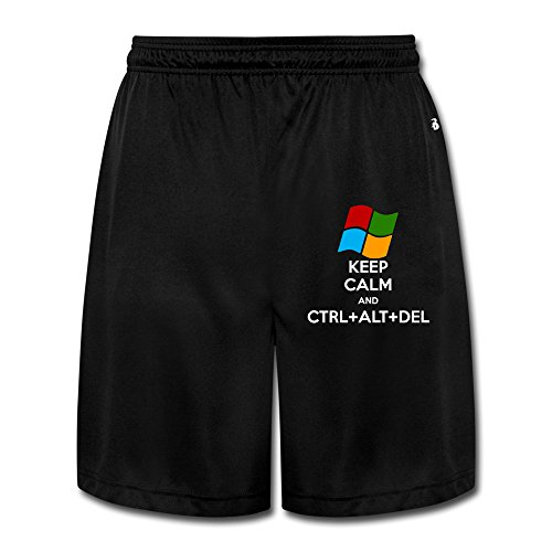 Runy Men's Keep Calm And Ctrl Alt Del Slim Sports Jogging Shorts With Pocket Black Bermuda Canvas Shorts