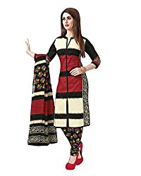 Meera Fashion World Women's Printed Unstitched Regular Wear Salwar Suit Dress Material(JC_DM_RED-BLACK)