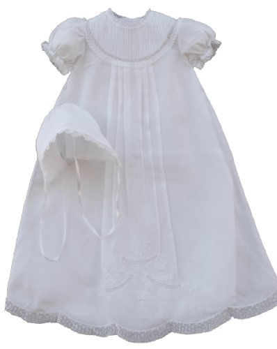 Feltman Brothers Infant Baby Girls White Christening Baptism Gown Bonnetnb-3M front-318959
