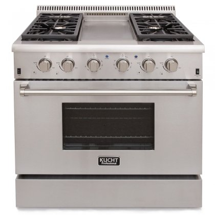 Kucht-KRG3609U-36-Professional-Class-Natural-Gas-Range-with-52-cu-ft-Convection-Oven-4-Top-Burners-Griddle-Heavy-Duty-Cast-Iron-Cooking-Grates-and-Blue-Porcelain-Interior-in-Stainless-Steel