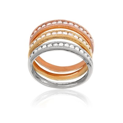 Unique Style (925) Sterling Silver Thin 3-Band Ring Silver, Gold & Rose Gold Plated w/ Clear CZ Accent(WoW !With Purchase Over $50 Receive A Marcrame Bracelet Free)
