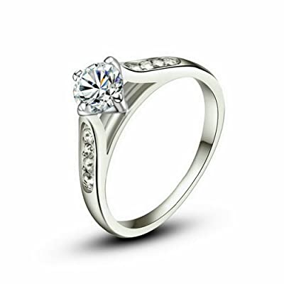 Yoursfs 18k White Gold Plated 1Ct Simulated Diamond Engagement rings