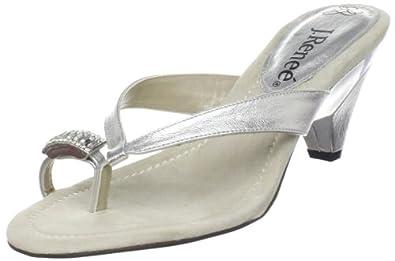 J.Renee Women's Tomika Thong Sandal,Silver,11 W US