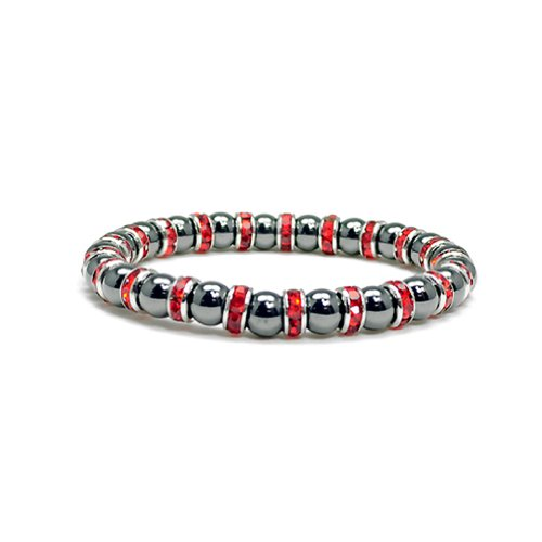 Women's Magnetic Hematite Tuchi Pearl Bracelet with Ruby Crystal, 7.5″