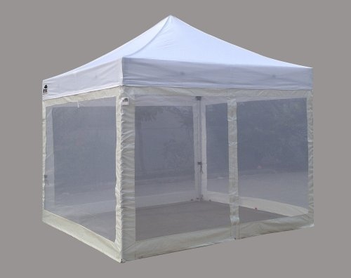 Eurmax 10X10 Std Pop Up Canopy Tent With Screen Walls & Roller Bag & Awning (White) front-985834