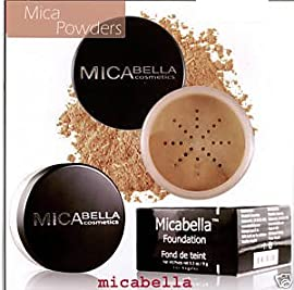 Micabella Mineral Makeup Foundation #3 Toffee +3 Stacks glitter Each 1.75gr +A-viva Eco File s
