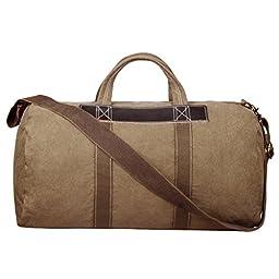S-ZONE Canvas Travel Tote Duffel Shoulder Handbag Weekend Bag Leather Trim Large Size Khaki
