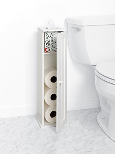 Zenna Home 9153WW, Cottage Collection Bathroom Tissue Stand, White