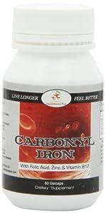 Healthboost Plus Carbonyl Iron 50 mg with Folic Acid, Zinc and Vitamin B12, 60 Count