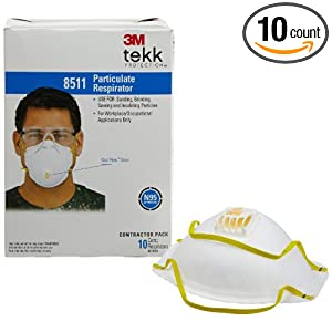 3M 8511 Particulate Sanding N95 Respirator with Valve, 10-Pack