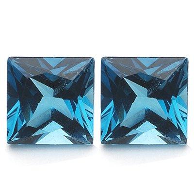 3.81 Cts of AAA 7 mm Princess Matching Loose London Blue Topaz ( 2 pcs set ) Gemstones