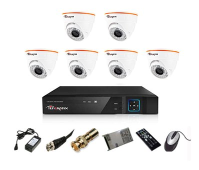 Tentronix T-8ACH-6-DA10 8-Channel AHD Dvr, 6(1MP/36IR) Dome Cameras (With Accessories)
