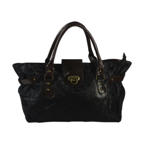 [Sabrina Black] Classic Black Double Handle Satchel Bag Handbag Purse