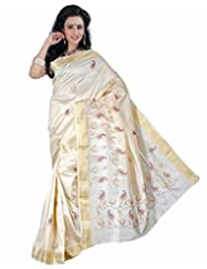 Roopkala Cream Raw Silk Embroidery Saree
