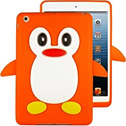 HHI Silicone Skin Case for iPad Mini - Orange Penguin (Package include a HandHelditems Sketch Stylus Pen)