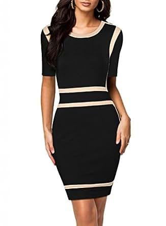 Bureau des femmes de mode pour femmes noir moulantes stretch slim col rond robes de partie des - Vetement de bureau pour femme ...