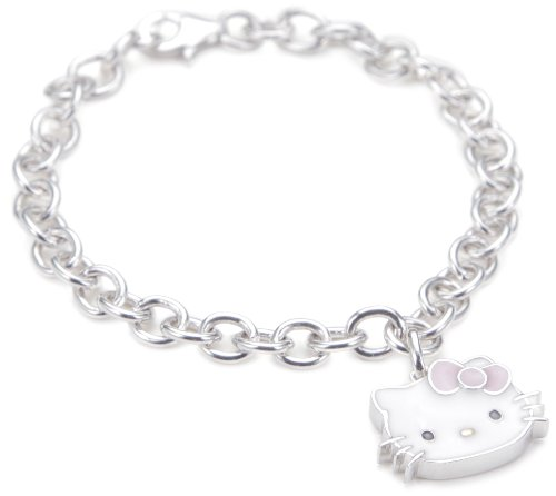 """Hello Kitty Pink Enamel Bow And Sterling Silver Charm Bracelet,7"""""""