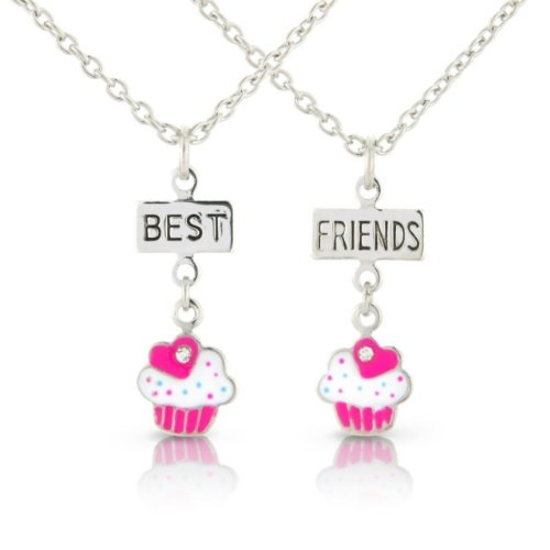 Childrens Pink Best Friends Childrens Necklaces, 2 Yummy Pink Cup Cake Pendants cute friendship necklaces