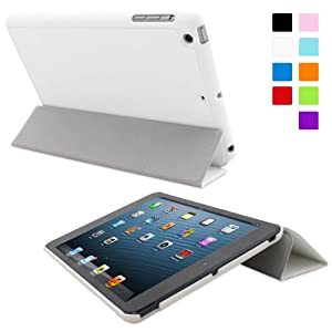 Snugg iPad Mini 1 / 2 / 3 Ultra Thin Smart Case in White - Flip Stand Cover with Auto Wake and Sleep for Apple iPad Mini & iPad Mini 2 Retina & iPad Mini 3