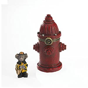 Boyds Fire Hydrant Treasure Box - Captain Dan's Lil' Red Fire Hydrant with Squirt McNibble
