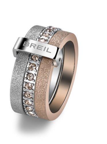 Breil - anello da donna, in acciaio inox, cristallo Swarovski BREILOGY, oro TJ142, Acciaio inossidabile, 14, colore: Oro, cod. TJ1421