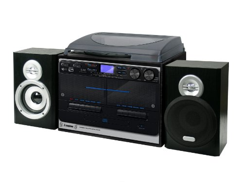 Steepletone SMC386 USB Recordable 5-In-1 Retro Music Centre - Black