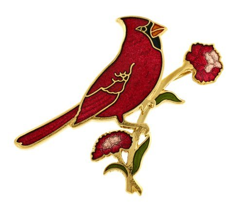 Gold plated and vitreous hand enameled Ohio cardinal