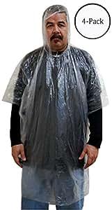 Emergency Clear Rain Poncho 3mil PVC : ( Pack of 4 Pcs )
