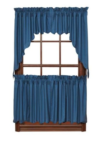 """Soldier Blue Solid Tier Scalloped Set Of 2 L24Xw36"""" front-646352"""