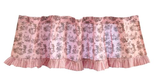 Tadpoles Toile Rod Pocket Window Valance in Pink and Brown - 1