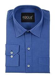 ROGUE URBAN WEAR Men's Formal Shirt (ROGFF15RYLBLU_L, Blue, Large)