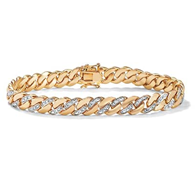Palm Beach Jewelry - Men's Diamond Accent 14k Gold-Plated Curb-Link Bracelet 8 1/2""