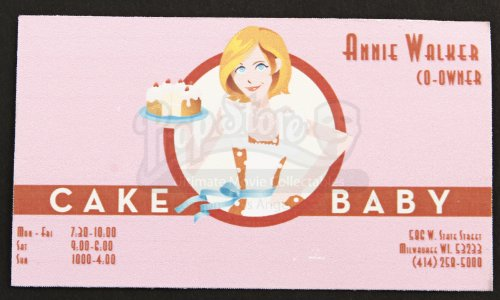Orginal Movie Prop - Bridesmaids - Annie Walker'S (Kristen Wiig) Cake Baby Business Card - Authentic front-956594