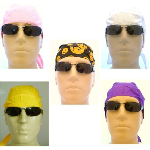 Set of 5 Womens Ladies Bikers Caps/ Head Wraps/ Medical Caps/ Skull Caps/ Bandanas, Smiley Face, Pink, White, Purple and Golden Yellow, Breathable and Very LIGHTWEIGHT 100% Cotton, One Size to Most Men, Women and Teens, Also Suitable for Cancer Patients,