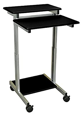 DMD Stand-Up Mobile Workstation, Compact Audio Visual (AV) Presentation Desk for Laptops, Tablets and Projectors or Data Entry, Black